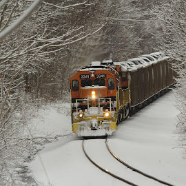 Train's coming by Jackie McCorkle Tepe - Transportation Trains