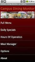 Screenshot of Campus Dining Monitor