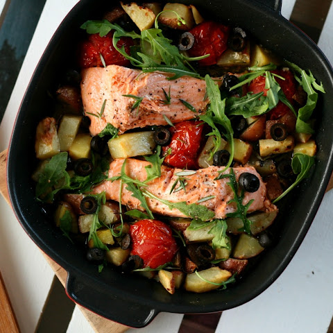 ROAST SALMON WITH ROSEMARY AND OLIVES