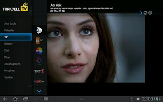 Screenshot of Turkcell TV Tablet