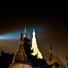 Shwedagon At Night by Tin Htoo Khaing - Buildings & Architecture Statues & Monuments