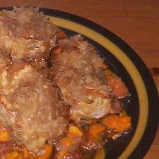 Pork Chops with Apples, Sweet Potatoes, and Sauerkraut