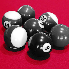 Red Backing by Joyce Thomas - Artistic Objects Toys ( pool balls, black white pool balls, red felt, pool table,  )