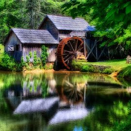 Mill by Reflection by Fred Herring - Buildings & Architecture Other Exteriors ( mill, waterwheel, lake, maybry )