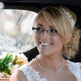 Stacey in car by Stephen Crawford - Wedding Bride ( car, church, wedding, stacey, smiling,  )