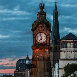 Düsseldorf 18:59 by Daniel Chobanov - Buildings & Architecture Architectural Detail ( rhein, düsseldorf, dusseldorf, clock tower, clock, germany,  )