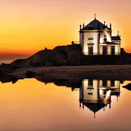 Twilight at Lord of the Rock by Antonio Amen - Buildings & Architecture Places of Worship ( church, sunset, twilight, sea, beach, orangechappel )