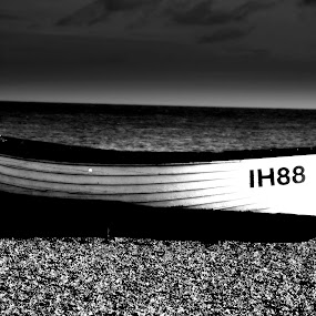 Beached by Neil Hannam - Black & White Objects & Still Life ( black and white, seaside, beach, boat,  )