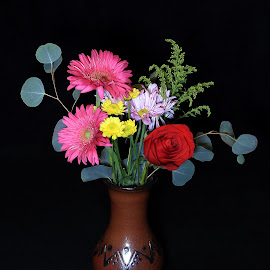 Floral Arrangement #2  by Ken Miller - Artistic Objects Still Life ( vase, still life, art, pottery, flower,  )