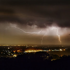 Flash Bang by Kelly Murdoch - Landscapes Weather ( flash, strike, lightning, uk, sky, weather, isle of wight, storm, rain, ztam )