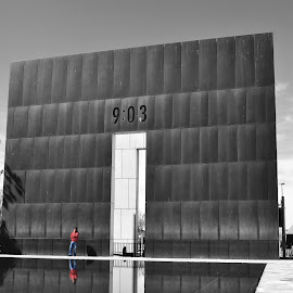 Reflect/Remember by Jonathan Porter - Buildings & Architecture Statues & Monuments ( history, monuments, memorial, oklahoma city, black and white, oklahoma, tragedy, city landmarks, bombing )