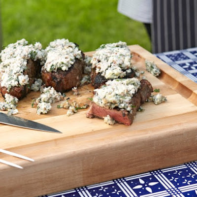 Strip Steaks with Blue Cheese Glaze