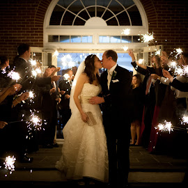 Goodnight Kiss by Mike DeMicco - Wedding Bride & Groom ( kiss, sparkler, wedding, bride, exit, groom. bride & groom )