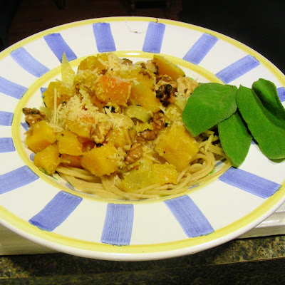 Roasted Buttenut Squash with Toasted Walnuts and Sage with Linguine