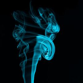 Circles by Dragos Vana - Abstract Patterns ( light painting, blue, smoke photography, black, shapes )