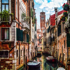 Venice by Andrea Conti - City,  Street & Park  Historic Districts ( history, water, venezia, reflection, boats, buildings, venice, cityscape, italy, canal,  )