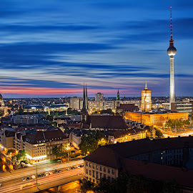 Berlin skyline  by Jordan Kretschmann - City,  Street & Park  Skylines ( skyline, blue hour, long exposure, berlin, nightscape )