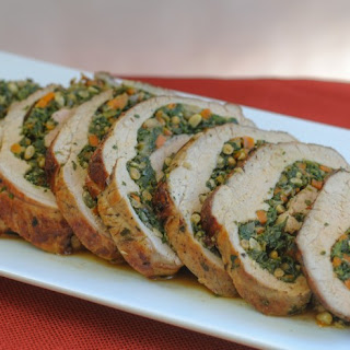 tart veal rolls stuffed with herb veal chop with radicchio spinach ...