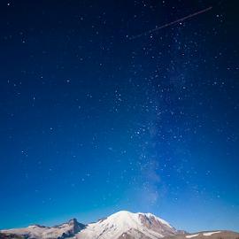Mt Rainier by Dan Brown - Landscapes Starscapes ( washington, blue sky, mt rainier, seattl, galaxy )