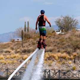 Hydro-Power I by Randy Dannheim - Sports & Fitness Watersports ( water, water sports, lake pleasant, jet ski boots, device, rocket boots, water power, transportation, arizona water sports, fly board )