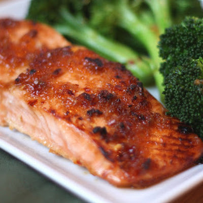 Sweet and Spicy Glazed Salmon with Spicy Broccoli