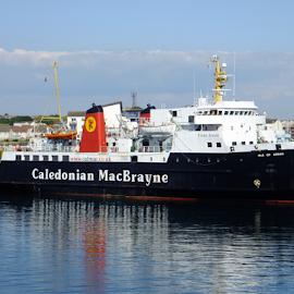Ferry On Standby by Jane Jenkins - Transportation Boats ( scotland, seaport, harbor, caledonian macbrayne, ferry, ship, boat )