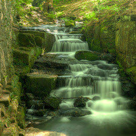 Lumsdale Waterfall by Martin Gamble - Novices Only Landscapes ( waterfall, old building, landscape, peak district, derbyshire )