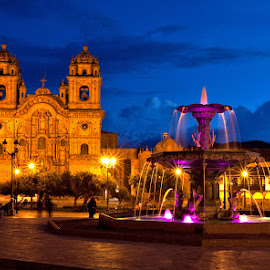 Cusco, Peru at twilight by Richard Duerksen - City,  Street & Park  Historic Districts ( sacred valley, peru, twilight, center of town, plaza, cusco )