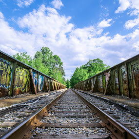 Track tags by Andrew Hale - Transportation Railway Tracks ( sky, railway, tagging, graffiti, tracks, steel, rust,  )