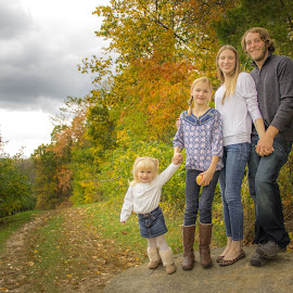 New England Family by Cassie Walsh - People Family ( love, farm, new england, family, fall, cloudy, rock, autumn colors, massachusetts, leaves, light )