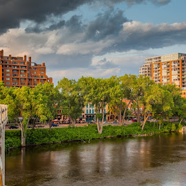 St. Anthony Main Street by Chris Hurst - City,  Street & Park  Neighborhoods ( water, minnesota, minneapolis, mississippi river, landscape, main street, river,  )