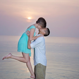 Sunset Kiss by Chelsea Eigel - People Couples ( kiss, sunset, couple, okinawa )