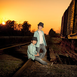 Double Trouble by Jody Johnson - Babies & Children Child Portraits ( sunset, railroad, photorad, tracks, twins )