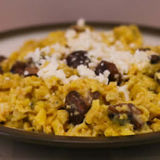 Scrambled Eggs with Sauteed Mushrooms and Feta