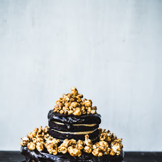 Chocolate-Peanut Butter Layer Cake with Caramel Popcorn