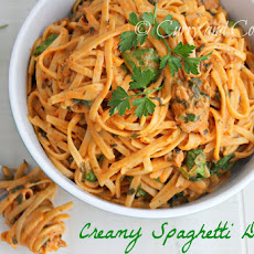 Creamy Spaghetti Dinner with Spinach and Sausage