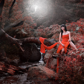 Upset by Sonny Sanjaya - People Fashion ( silent, jungle, woman, digital art, ray of light, red dress, river thames,  )