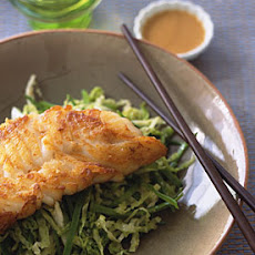 Sauteed Cod on Snow Peas and Cabbage with Miso Sesame Vinaigrette