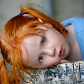 Red Haired Beauty by Deb Adkins - Babies & Children Child Portraits ( child, red, girl, blue, children, hair, eyes,  )