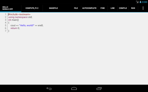 c4droid-c-c-compiler for android screenshot