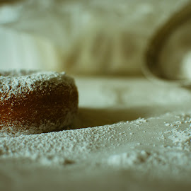 Fresh Powder 3 by David Kreutzer - Food & Drink Cooking & Baking ( doughnuts, white on white, breakfast, baking, powder suger )