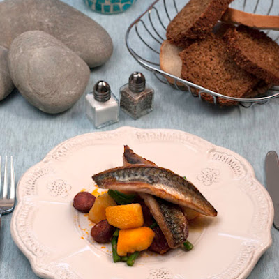 Mackerel with Warm Potato and Chorizo Salad