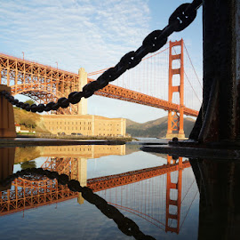 Reflection of The Golden Gate Bridge by Victor Mirontschuk - Buildings & Architecture Bridges & Suspended Structures ( reflecttion, places, travel, bridge, architecture, san francisco )