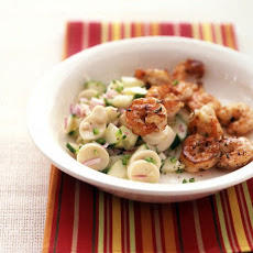 Seared Shrimp with Cucumber Salad