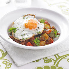 Potato, Pepper & Chorizo Stew With Fried Eggs