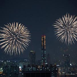 Seoul fireworks festival by Brent Hendricks - City,  Street & Park  Skylines