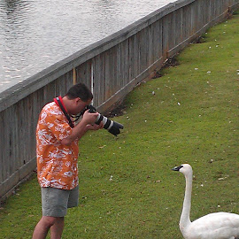 Smile! by Spacer Conrad - Novices Only Portraits & People ( park, camera, photographer, swan, lake )
