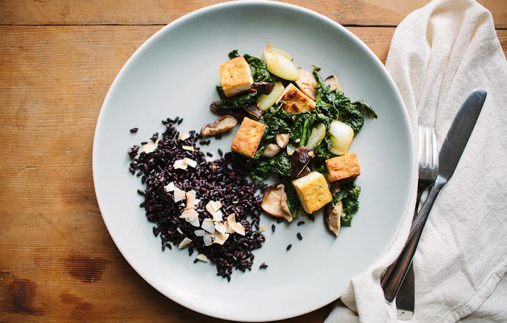 Tofu, Mustard Greens, and Shiitake Mushroom Stir-Fry