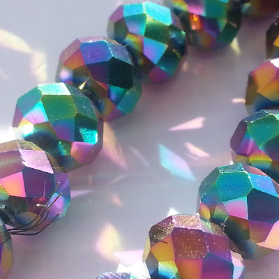 Multicolor AB Color Crystal Glass Faceted Rondelle Beads 8mm 42cm