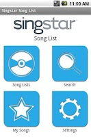 Screenshot of SingStar Song List